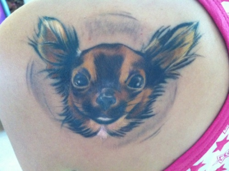 fledermaus-Tattoo: Mein Mini-hund EYWA