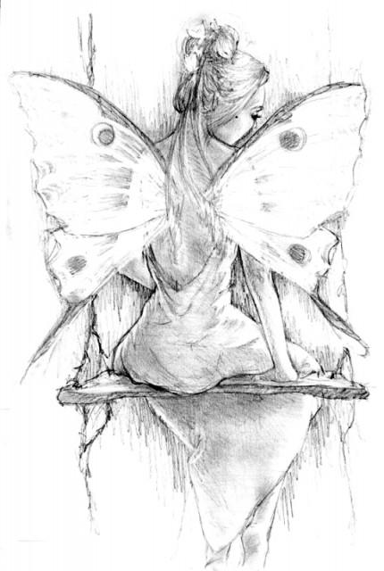 Frau mit Flügeln