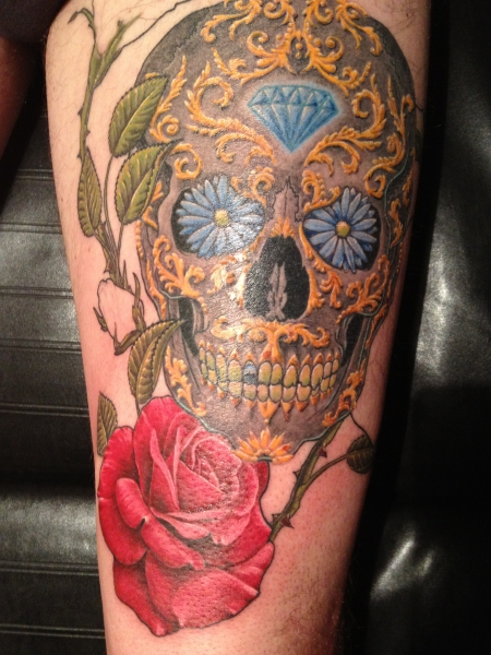 diamant-Tattoo: sugarskull