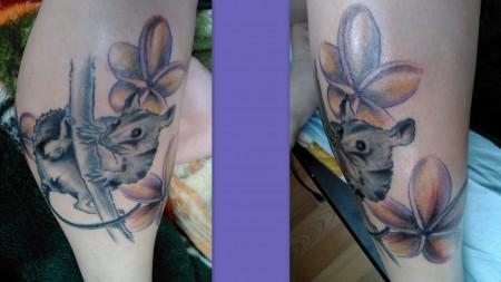 ratte-Tattoo: Ratte am ast uuuund jetzt sogar mit blüten