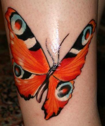 schmetterling-Tattoo: Pfauenauge auf Wade (mein erstes)