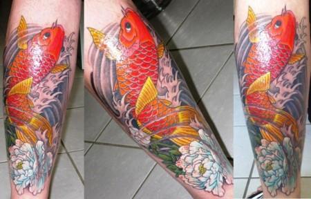 Koi Tattoo an der Wade - The Day After
