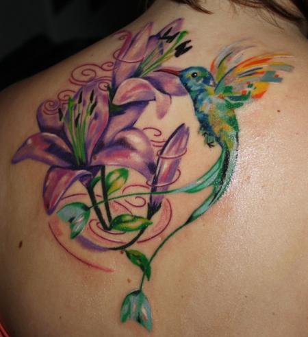 Kolibri und Blumen, gemalt