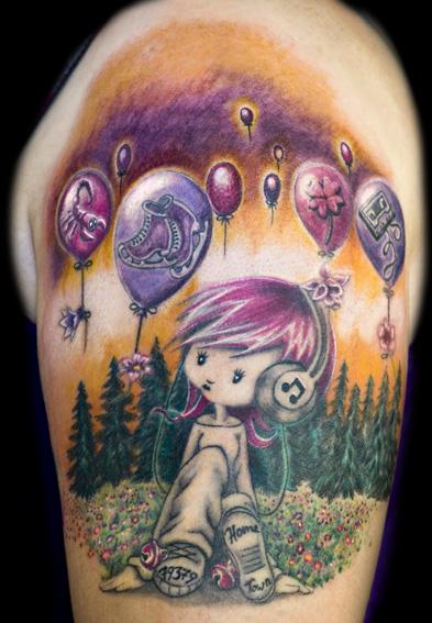 Buntes Schwestern-Tattoo