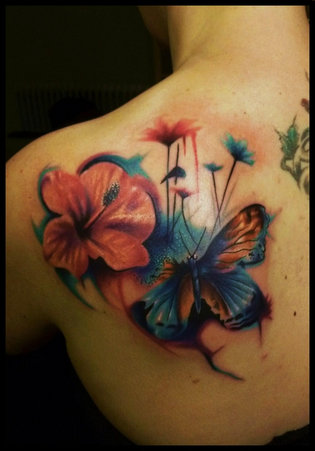 herz-Tattoo: Butterfly