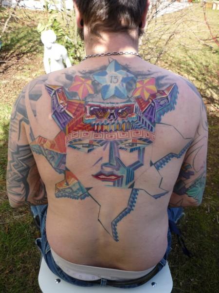 stern-Tattoo: Sonne nochmal im Gesamten