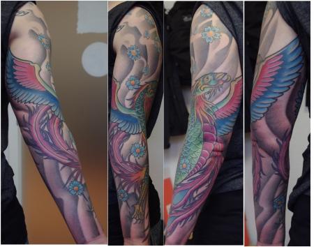 phönix-Tattoo: Phönix Sleeve