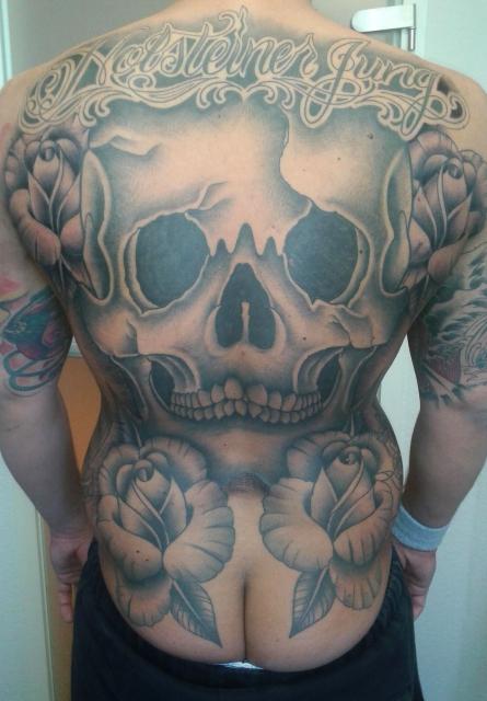 Skull/Roses/Letters Backpiece
