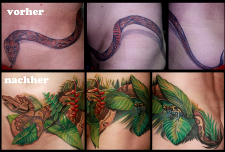 frosch-Tattoo: Cover-Up