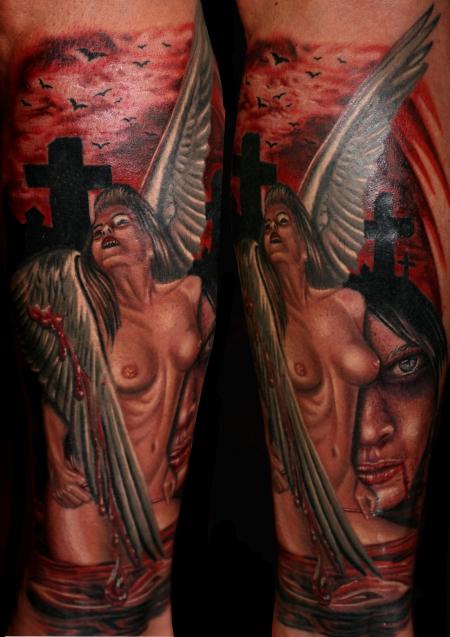 Engel-Tattoo: 9 Stunden Arbeit