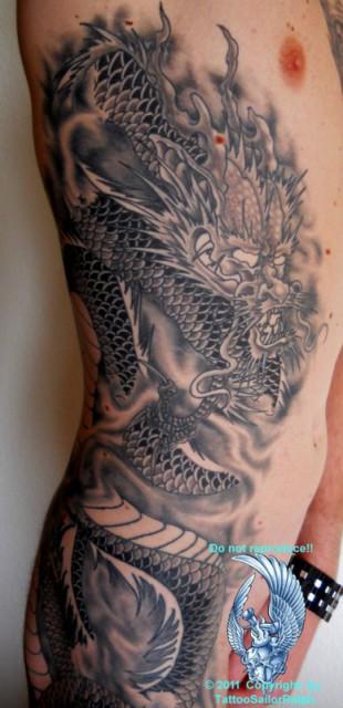 dragon-Tattoo: Dragon, In progress...Detail
