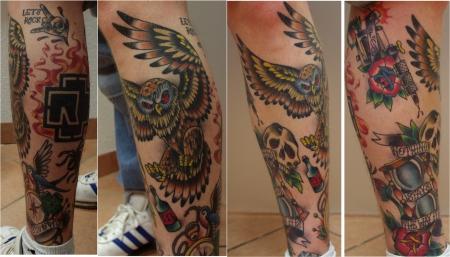 rammstein-Tattoo: Old school Leg