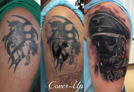 einhorn-Tattoo: Kroenen aus Hellboy-Cover Up