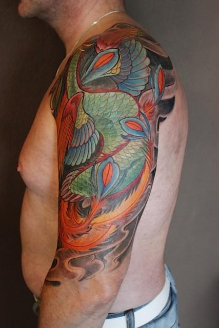 phönix-Tattoo: Phönix 2 freihand