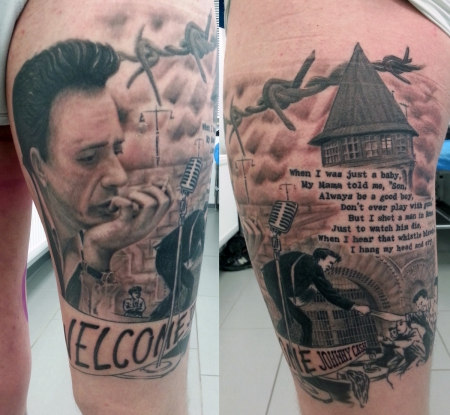namen-Tattoo: Cash-Thema, Black & Grey