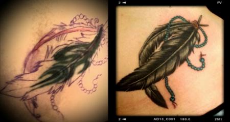 feder-Tattoo: Feder - Cover Up