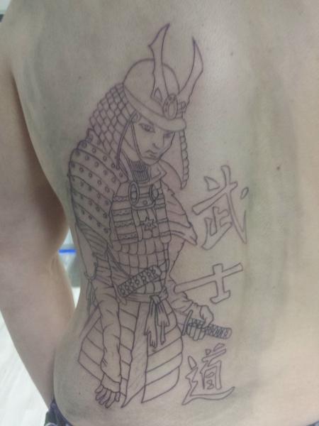 Rückentattoo Samurai 1. Sitzung