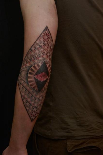 dotwork-Tattoo: Blume des Lebens Dotwork