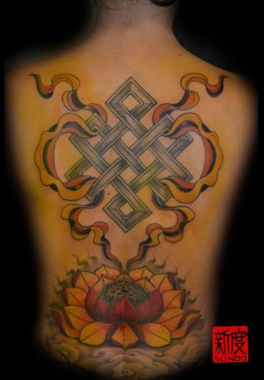 jaharmy79 endloser knoten lotus blume und banner tattoos von tattoo. Black Bedroom Furniture Sets. Home Design Ideas