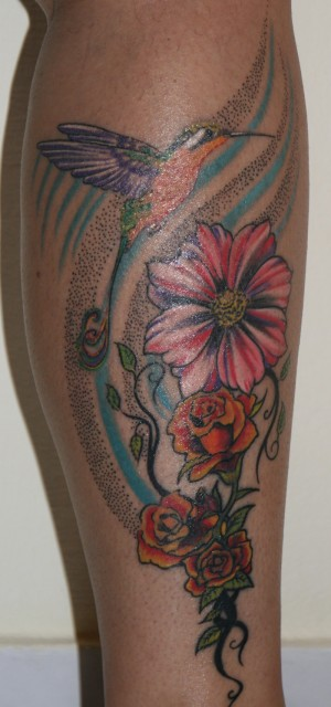 Ranke-Tattoo: Cover-Up Kolibri & Ranke