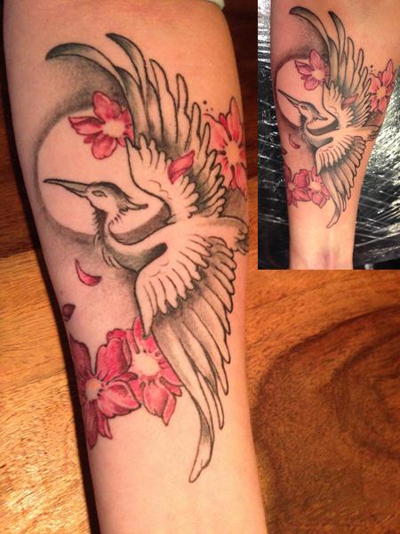 Kranich mit Kirschblüten. Mein 3. Tattoo