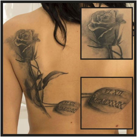 rose-Tattoo: Rose mit Kette