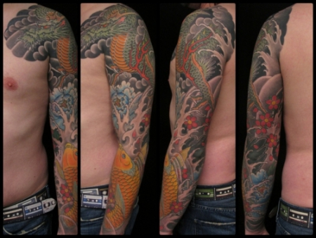 whoami78 dragon koi arm sleeve tattoos von tattoo. Black Bedroom Furniture Sets. Home Design Ideas