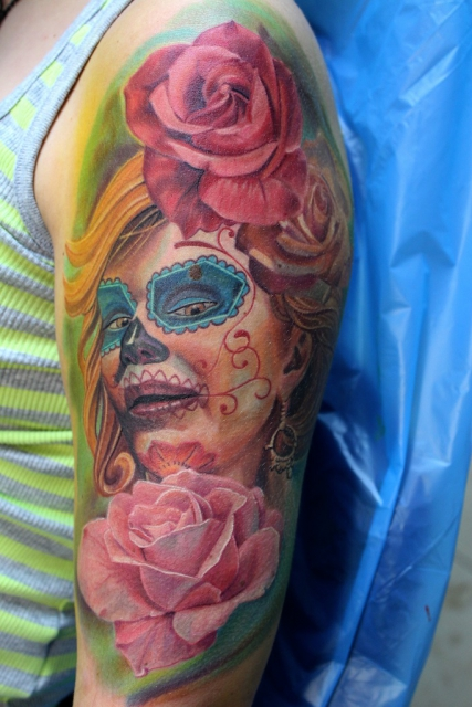 La Catrina style von Electrographic Tattoo Rosenheim