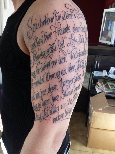 FinalSolution: Oberarm Text | Tattoos von Tattoo-Bewertung.de