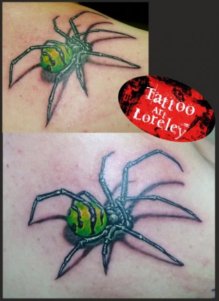 Black widow spider with new dress
