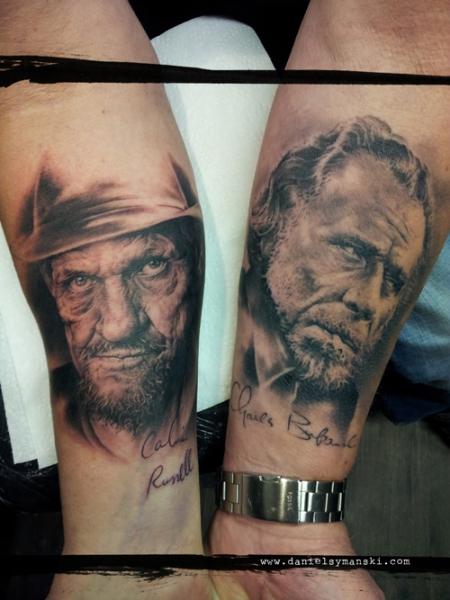 Calvin Russel (fresh) and Charles Bukowski (healed)