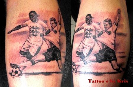 fußball-Tattoo: Fussball 50er Jahre Deutschland-England