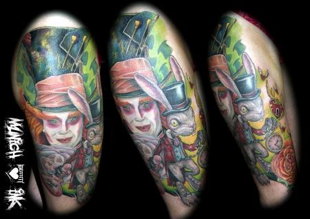 alice-Tattoo: hutmacher alice im wunderland