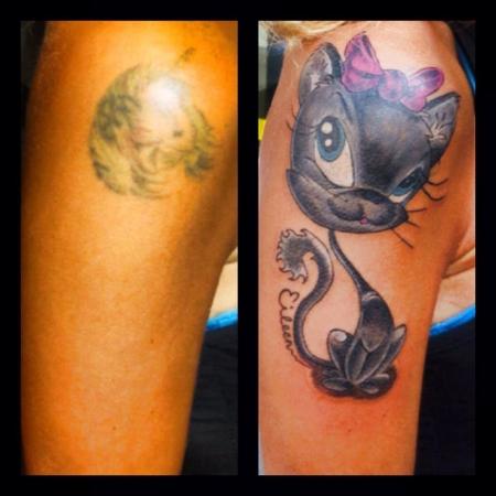 einhorn-Tattoo: CoverUp Katze