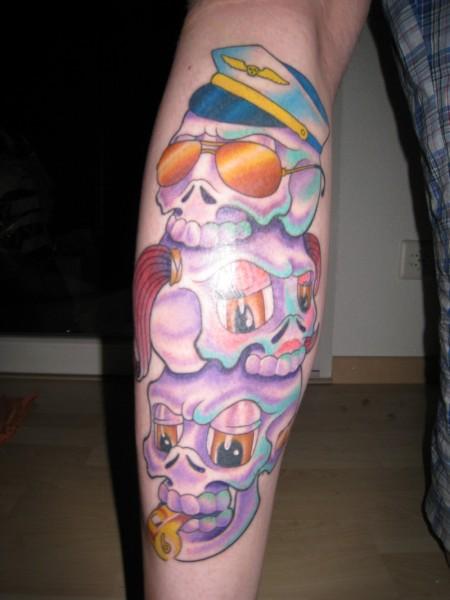 familie-Tattoo: 3 Comic Schädel