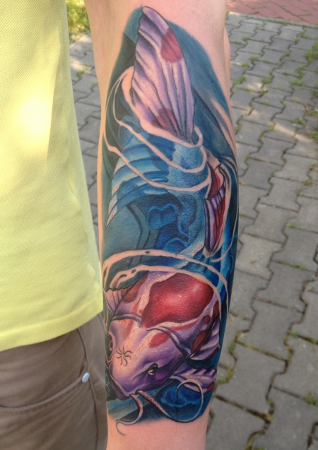 new School-Tattoo: Koi by Farbschock Tattoo