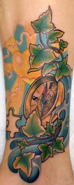 kompass, memorial-tattoo