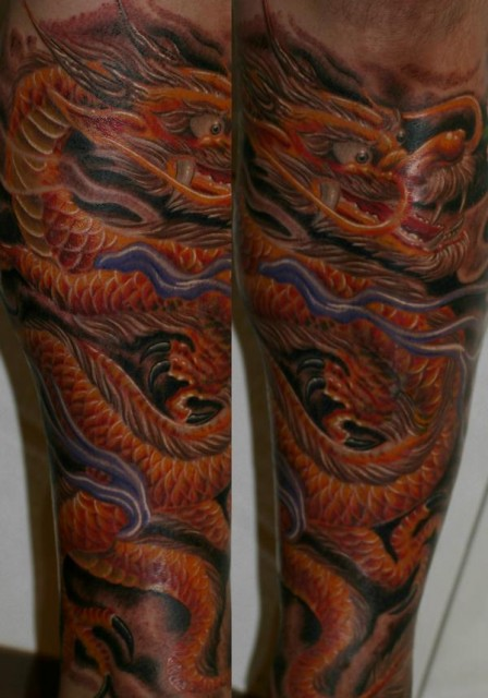 drache-Tattoo: 9 stunden Arbeit (Freehand)