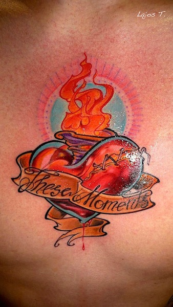 oldschool-Tattoo: Sacred heart