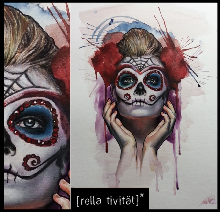 rella tivit t la catrina dia de la muertos malerei l aquarell polychromos tattoos von. Black Bedroom Furniture Sets. Home Design Ideas