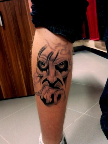 onkelz-Tattoo: Neustes Tattoo von meinem Freund: Böses Gesicht der Böhsen Onkelz