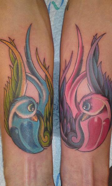 schwalben-Tattoo: Schwalben Unterarm
