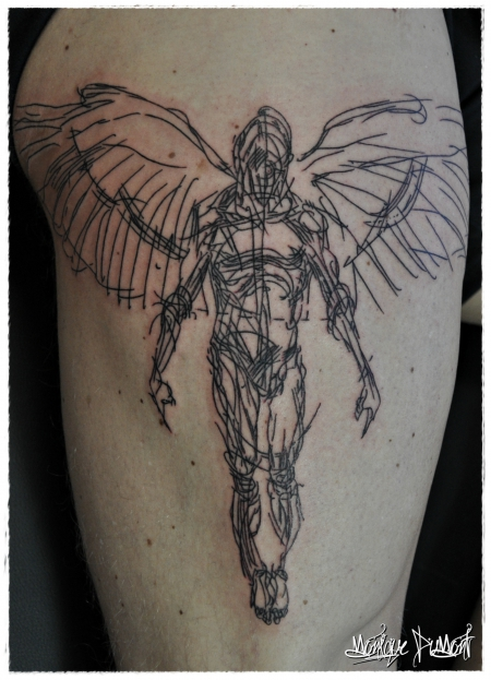 engelsflügel-Tattoo: Derek Hess: Angel Scribble Tattoo