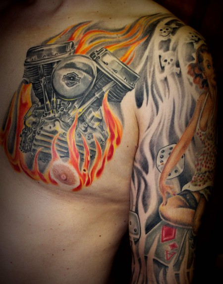 flammen-Tattoo: Panhead