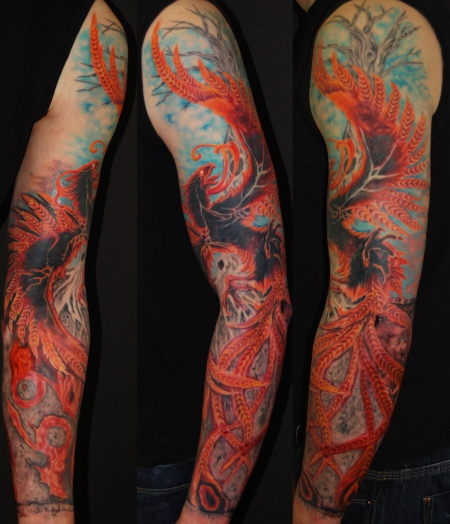 phoenix-Tattoo: Phoenix sleeve  by  SoFat