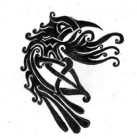 Tattoovorlage keltischer Rabe