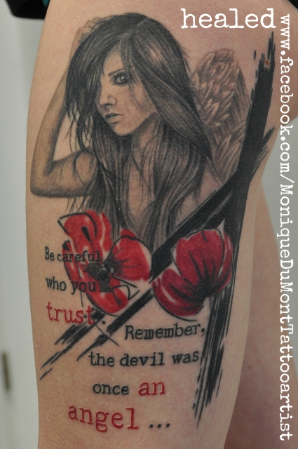 angel tattoo watercolor grunge