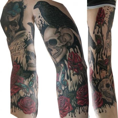 boxensport rosen rabe 2x skul tattoos von tattoo. Black Bedroom Furniture Sets. Home Design Ideas
