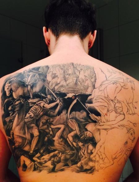 pusteblume-Tattoo: Offenbarung 4 Reiter Buch der sieben Siegel