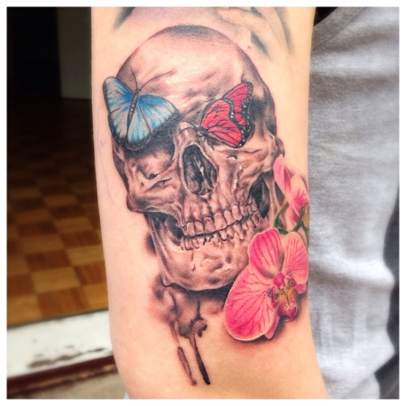 orchidee-Tattoo: Flower Skull
